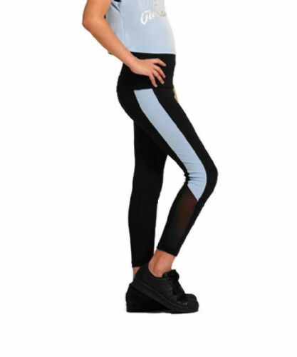 PINEAPPLE DANCEWEAR Girls Dance Leggings Black/Blue Sides with Mesh Panels